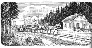 Kresba strážního domku poblíž železniční zastávky Kamenný Újezd - Důl