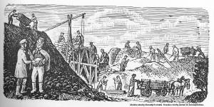 Ukázka stavby klenutých mostů. Kresba z knihy Začalo to koněspřežkou.